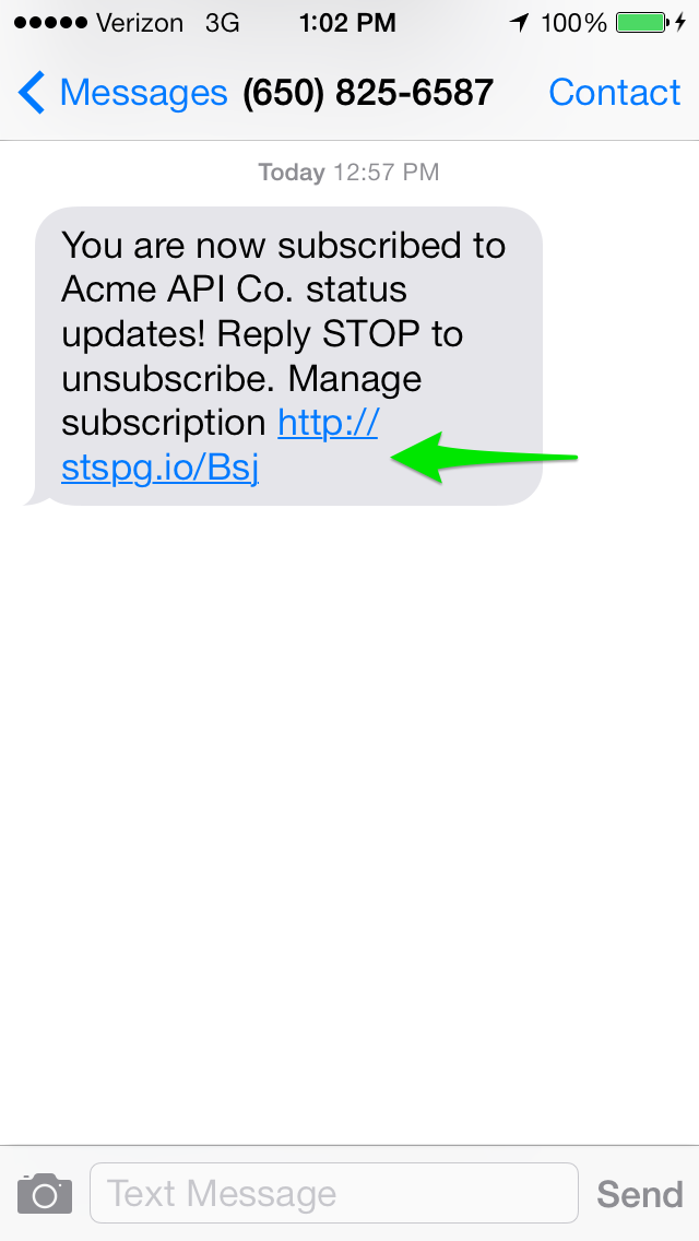 Subscriber Confirmation SMS