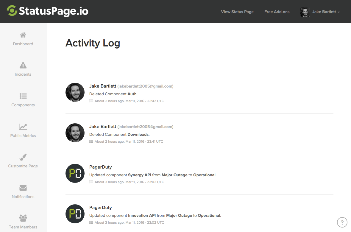 Recent Activity example view
