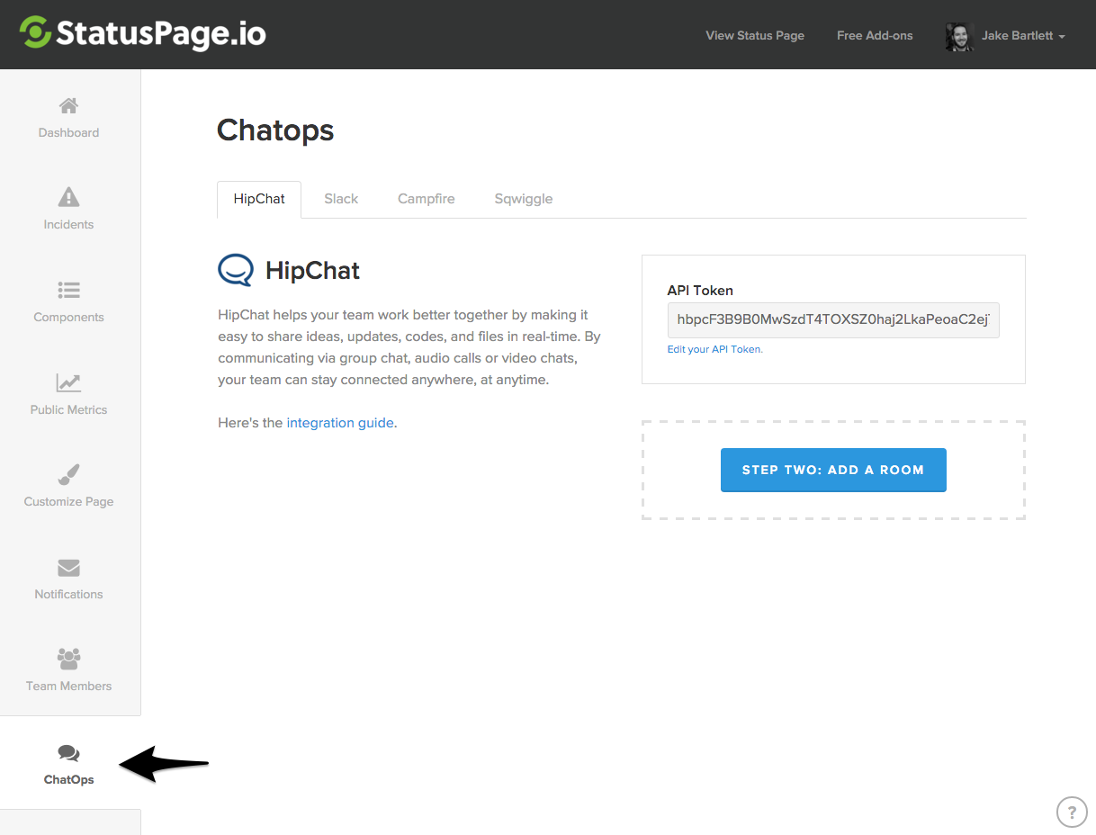 Integrations ChatOps Tab