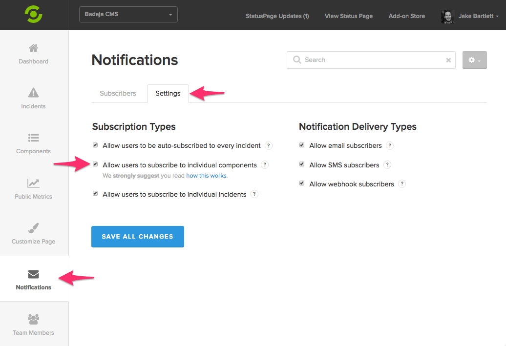 Enable Component Subscriptions